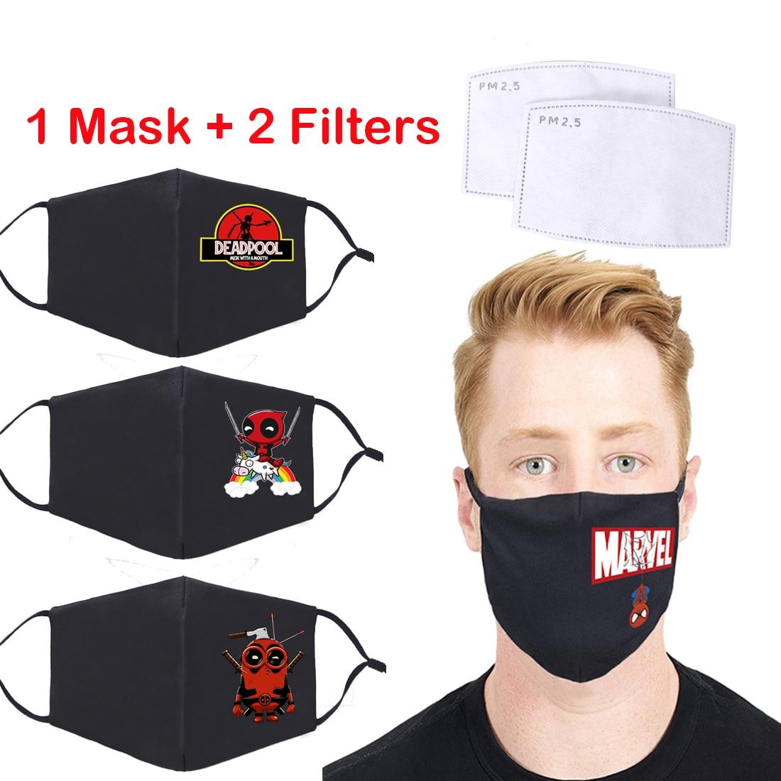 Marvel Deadpool Print Hip Hop Masks PM2.5 Activated Carbon Filter Paper Protective Mouth Muffles Washable Reusable Soft Mask