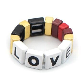 Anillo Shinus, anillos para mujer, cuentas de azulejo esmaltado, amor, letra, regalo bisutería mujer, hecho a mano, aleación Boho, 2020, Nueva joyería de moda