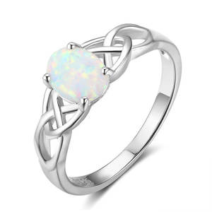 925-Sterling-Silver Rings Jewelry Opal Engagement Women Luxury Wedding Natural Simple