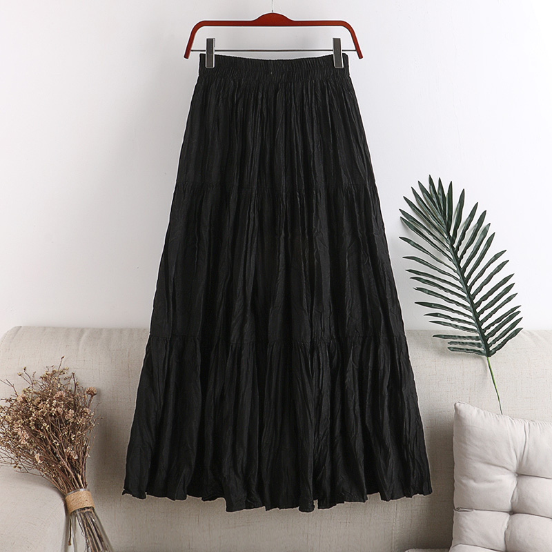 Wrinkle Skirts Women Three Section Patchwork Minimalist Solid Elastic Waist Woman A-Line Skirt Big Swing Long Pleated Skirt