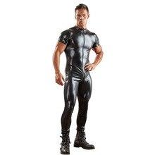 Erkek Patent deri Bodysuit çift Zip açık Crotch seksi Bodysuit iç çamaşırı saten kasık iç çamaşırı giyisi erkekler için