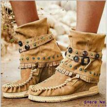 Las mujeres Botas de gladiador alto tacones cuñas altura Incleasing zapatos botines Vintage PU cuero Botas Zapatos Mujer HP2691