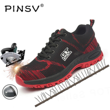 Size 35-48 Unisex Safety Shoes Men Work Boots With Steel Toe Cap Outdoor Air Mesh PINSV