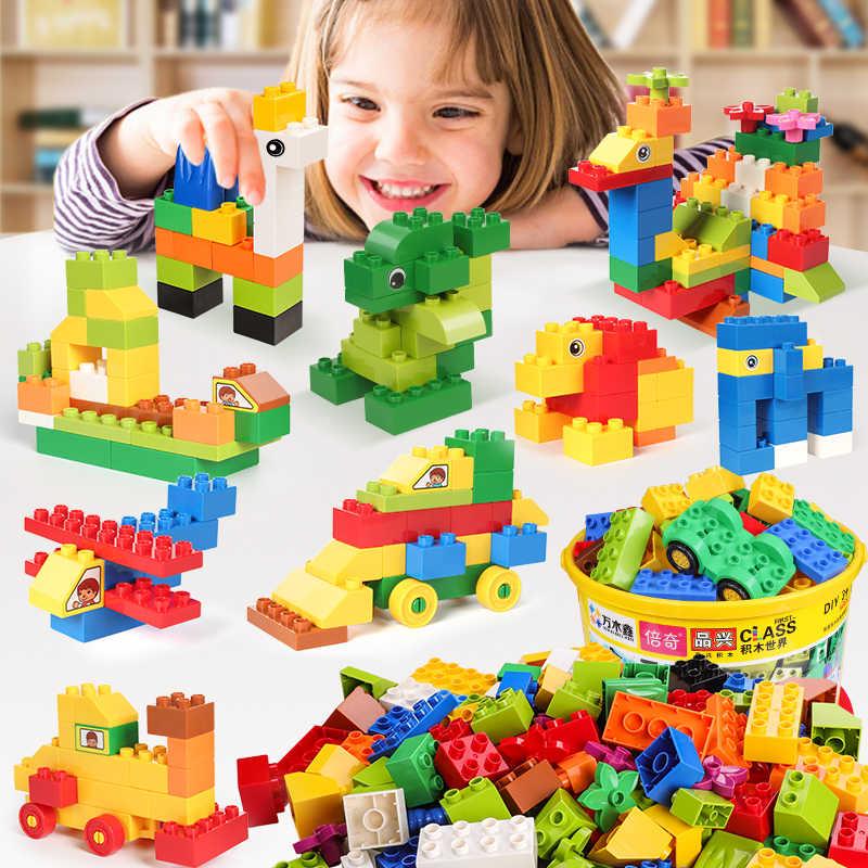72-260 peças tamanho grande blocos de construção presente adesivo colorido tijolos a granel com figura acessórios compatível legoes duploes crianças brinquedos
