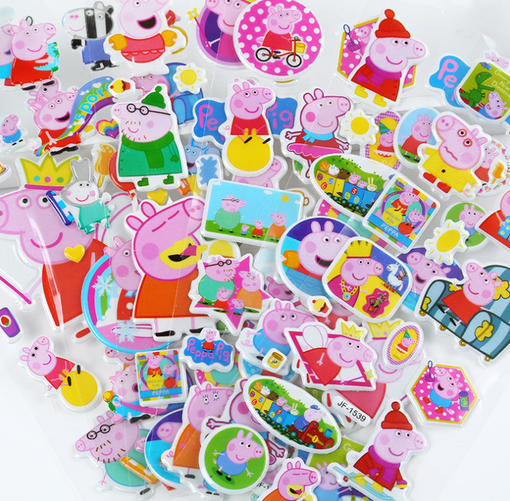 2021 New Genuine Peppa Pig  3D Bubble Sticker Cartoon Toy Pink Pig Sticker Toy Action Character Child Kid Toy Birthday Gift