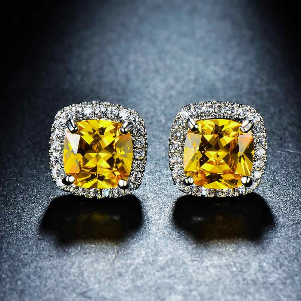 Luxo feminino cristal zircon pedra brincos moda prata cor amarelo brincos vintage duplo parafuso prisioneiro para mulher