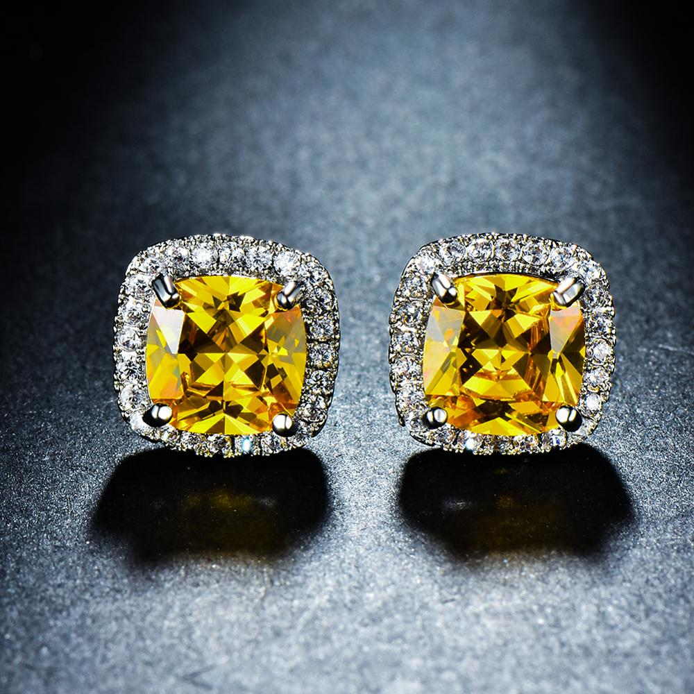 Luxury Female Crystal Zircon Stone Earrings Fashion silver color Yellow Earrings Vintage Double Stud Earrings For Women