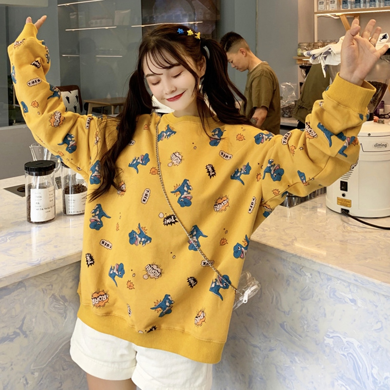 Autumn Korean Small Fresh Dinosaur Print Pullover Women Simple Casual Long Sleeve Cute Loose Round Collar Thin Sweatershirts