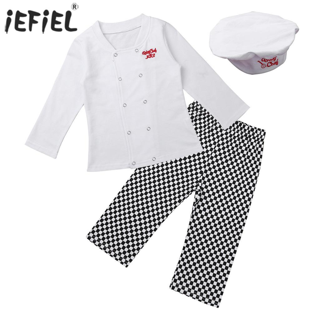 Photography Costume Newborn Baby Clothes Outfit Cute Cook Chef Toddlers Girls Boys Party T-shirt Pants Clothing Set With Hat