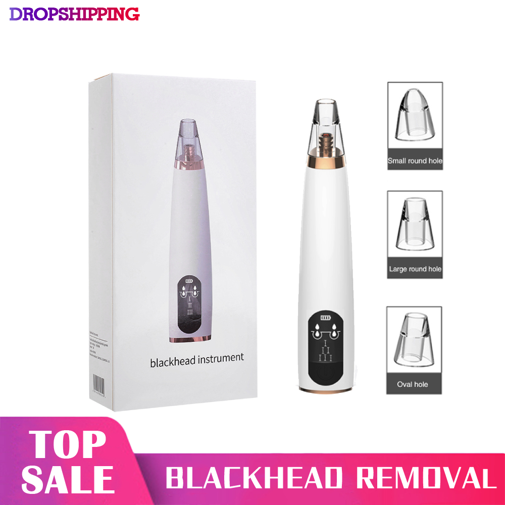 Electric Blackhead Remover <font><b>USB</b></font> Charging Vacuum Suction Pore Cleaner with LCD Screen Blackhead Removal Tools for Skin Care image