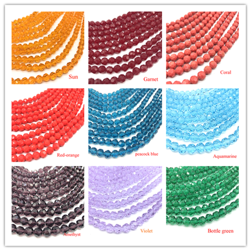 72 Pcs Faceted Round Shape <font><b>8mm</b></font> Coral Pink Crystal <font><b>Beads</b></font> for Jewelry Making Necklace and Bracelet Wholesale Lots <font><b>Bulk</b></font> image