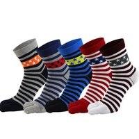 Men Colorful Stripe Socks Fashion Cotton Five Fingers Toe Deodorant Business Casual Europe Funny Socks