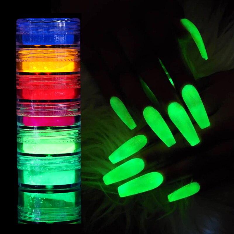 6 коробок/набор, неон фосфор порошок лак для ногтей Блестящий Хром пыль светящийся флуоресцентный пигмент порошок светится в темноте украше...