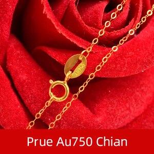 Image 3 - NYMPH Подлинная 18K белая цепочка из желтого золота 18 дюймов au750 цена ожерелье кулон Wendding вечерние подарок для женщин [G1002]