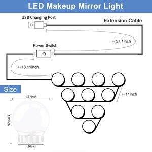 Image 2 - 5V USB Hollywood Spiegel Licht Mit Touch Dimmer Make Up Tisch Spiegel Led Licht Schlafzimmer Decor 2/6/10/14 Led lampen Eitelkeit licht
