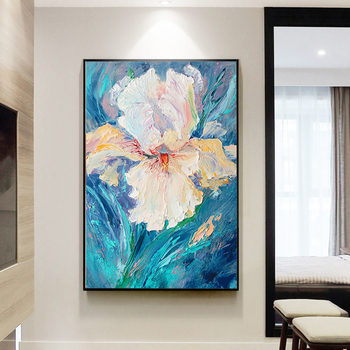 Entrancehand-painted Oil Painting Decorative Painting The Living Room Sharply Chrysanthemum Light Luxury Modern Restaurant