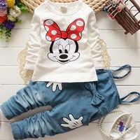Conjunto de ropa para bebé, camiseta de manga larga de Minnie de dibujos animados, mono con pantalones largos, traje de Boutique, 2-5 años
