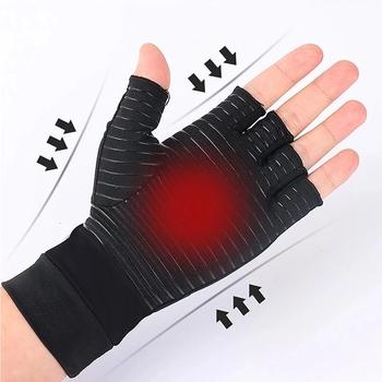 1 para kompresji zapalenie stawów rękawice kobiety mężczyźni ból stawów ulga pół palca Brace terapia wsparcie nadgarstka antypoślizgowe rękawice terapii tanie i dobre opinie Aptoco Dla dorosłych CN (pochodzenie) Polyester Gloves men women