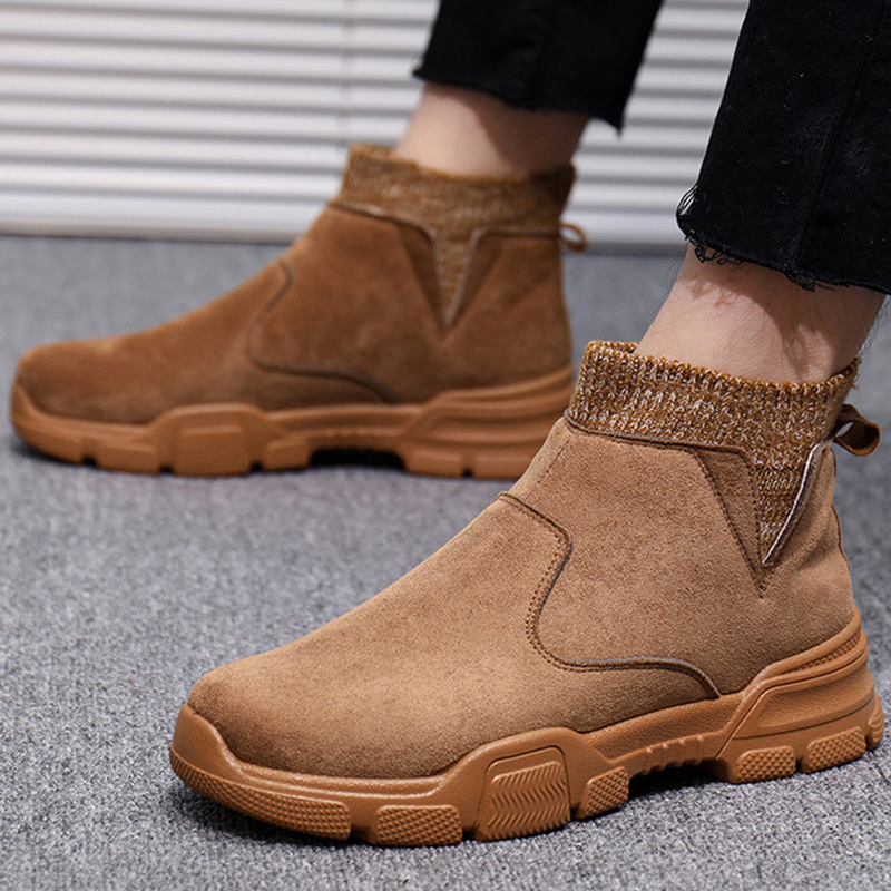2019 Autumn Early Winter Shoes Men Suede Boots Fashion Brand Casual Man Leather Chelsea Boots Men Ankle Boots Thick Sole KA1853