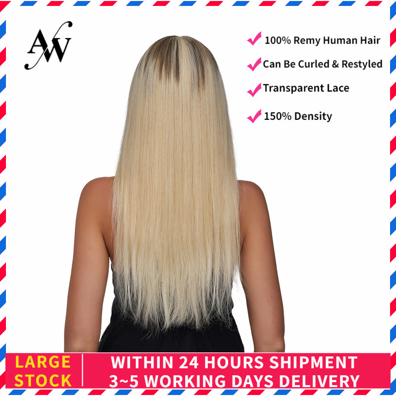 AW 20'' HD Lace Frontal  Wigs Straight Pre Plucked Hairline Remy Human Hair Wig For Women 150% Density Ombre Bleach Blonde