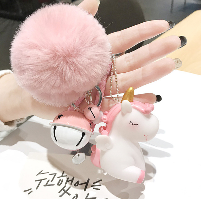 Cute Plush Pompom Unicorn Keychain For Women Round Ball Pom Pom Faux Rabbit Fur Key Chain Trinket Car Bag Bell Key Ring Gift