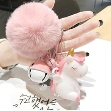 купить Cute Plush Pompom Unicorn Keychain for Women Round Ball Pom Pom Faux Rabbit Fur Key Chain Trinket Car Bag Bell Key Ring Gift по цене 31.26 рублей