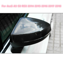 цена на 2pcs For Audi A3 S3 8V RS3 Car Rearview Mirror Cover Cap Shell Housing door side wing mirror cover