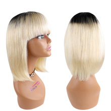 Wigs Bangs Human-Hair-Wigs Cut-Wig-Blonde Straight Bob with Remy Brazilian Cute Purple-Color