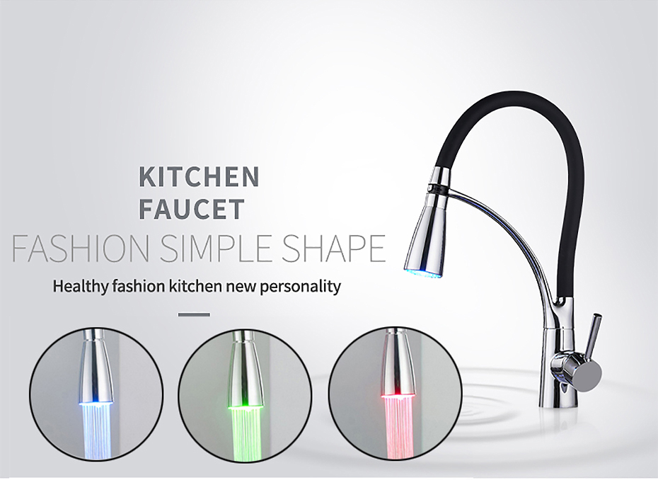 Hb17f031c5d37410cace0abff9083bc549 Kitchen Faucets with Rubber Design Chrome Mixer Faucet for LED Kitchen Single Handle Pull Down Deck Mounted Crane for Sinks 7661