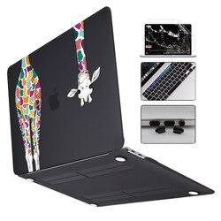 Kolorowe żyrafa matujący wygładzający na laptopa etui na macbooka Air Pro Retina 11 12 13 15 2019 Pro 16 13 cal pokrywa A2141 A2159 touch bar w Torby i etui na laptopy od Komputer i biuro na