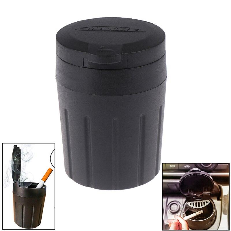 1Pc Bin Dust Garbage For Car Interior Accessories Auto Ashtray Car Ashtray Cigarette Smoke Holder Portable Storage Black Trash