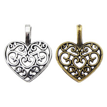 100PCS Vintage Metal Hollow Heart Shape Charms Silver Bronze Necklace Jewelry Making Bracelet Pendant DIY Findings pure 24k yellow gold pendant 3d craved hollow heart bracelet pendant 1g