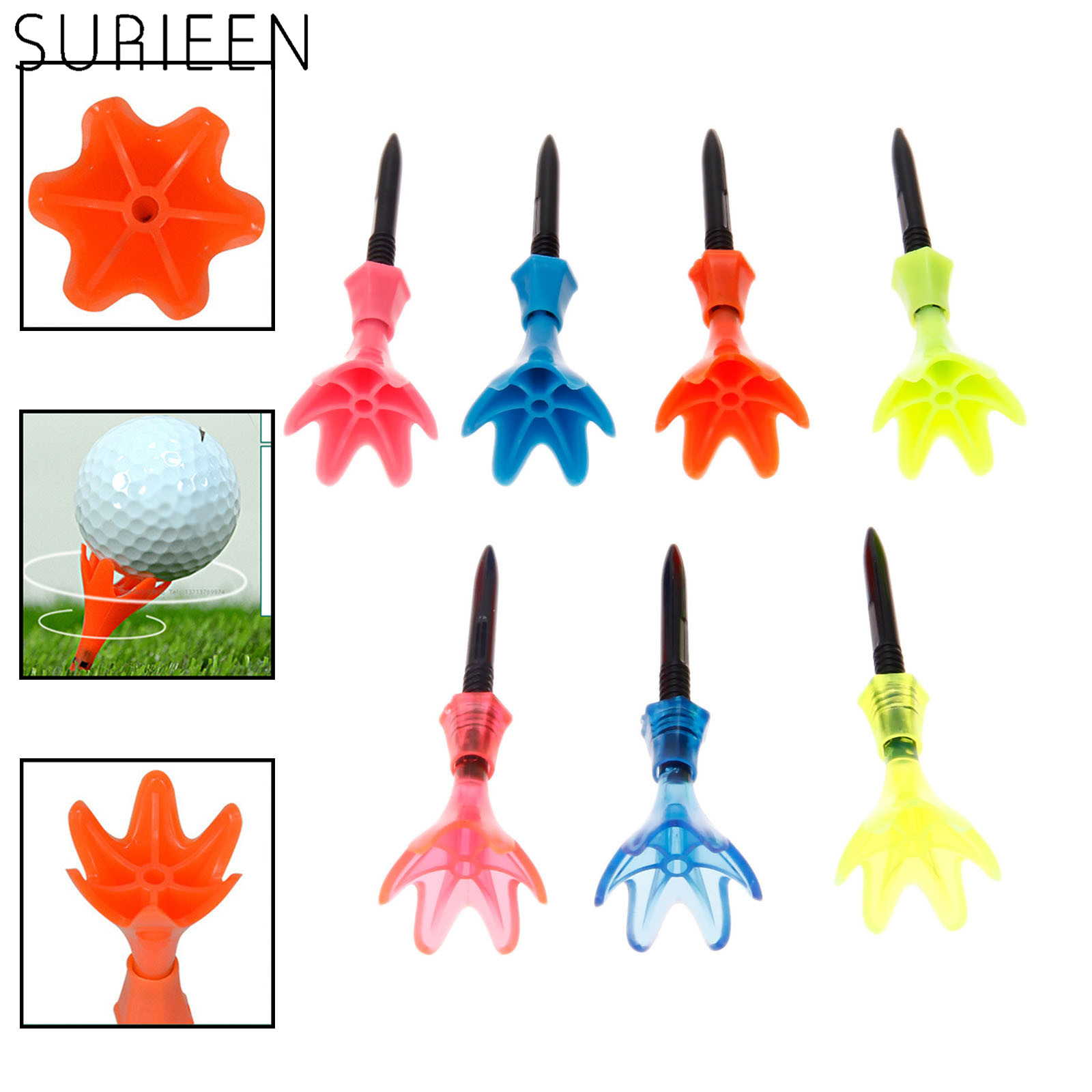 3 Pcs/Set Adjustable Height Golf Tee Plastic Rotatable Golf Ball Tees Rotational Limited Step Down Golfer Practice Equipments