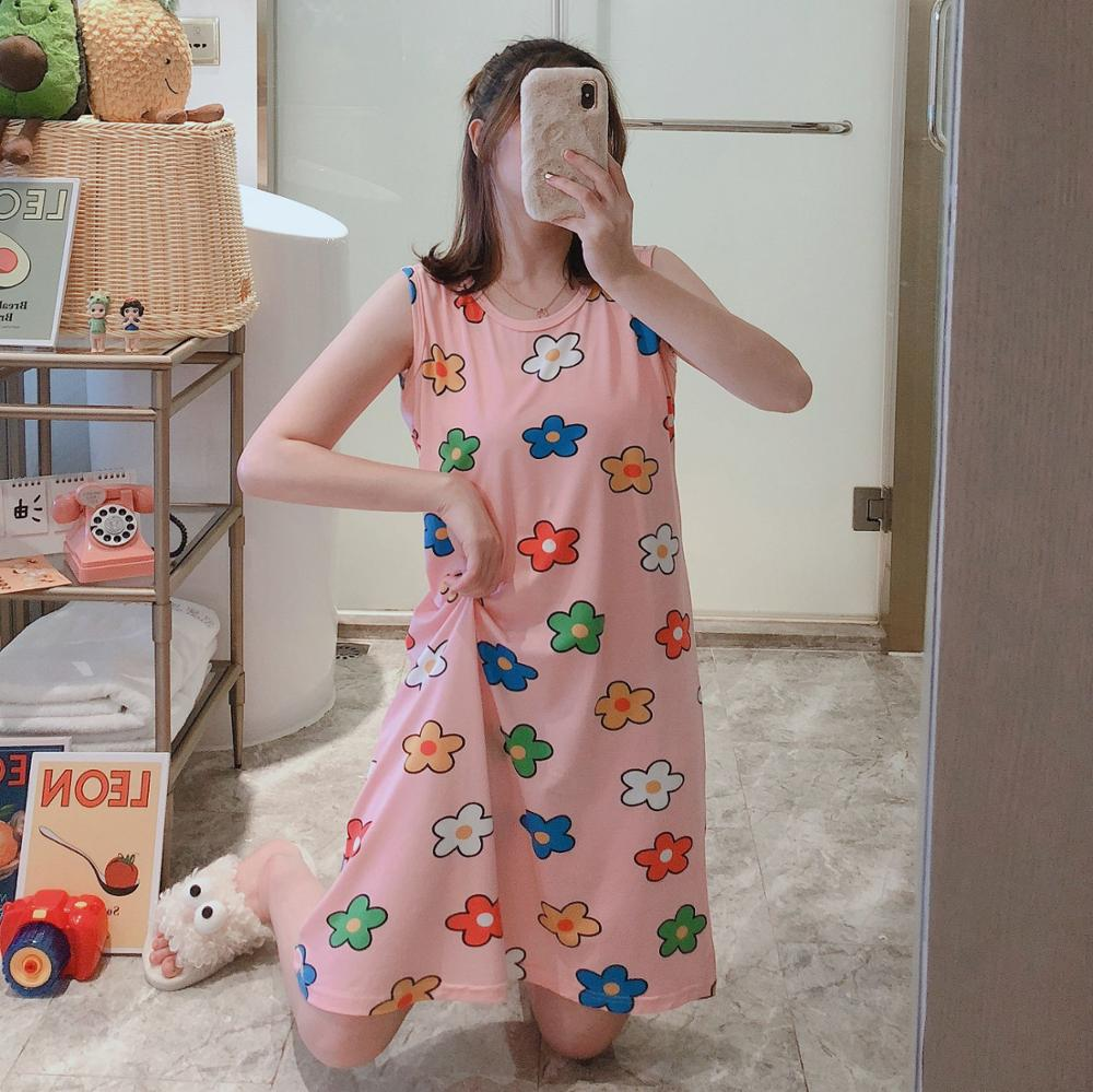 Hot New Cartoon Mouse Print Night Dress 2020 Loose New Women Nightgown Sleeveless Sleepshirts Nightdress Sexy Nightie Sleepwear