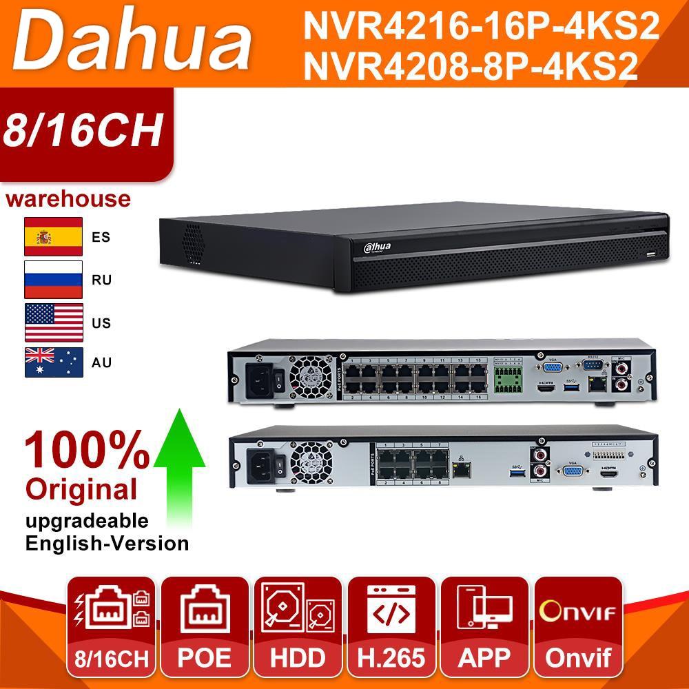 Original Dahua NVR 8CH 16CH 32CH 4K NVR4208-8P-4KS2 NVR4216-16P-4KS2 NVR4232-16P-4KS2 HDD PoE 4K H.265 For IPC IP Camera