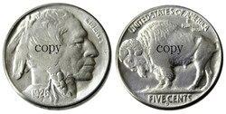 US 1926D с гравировкой в виде американского бизона из никеля пять центов копия декоративная монета