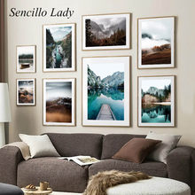 Affiche murale de paysage de Style nordique, toile imprimée, paysage de lac et de montagne, peinture artistique, décoration de maison scandinave