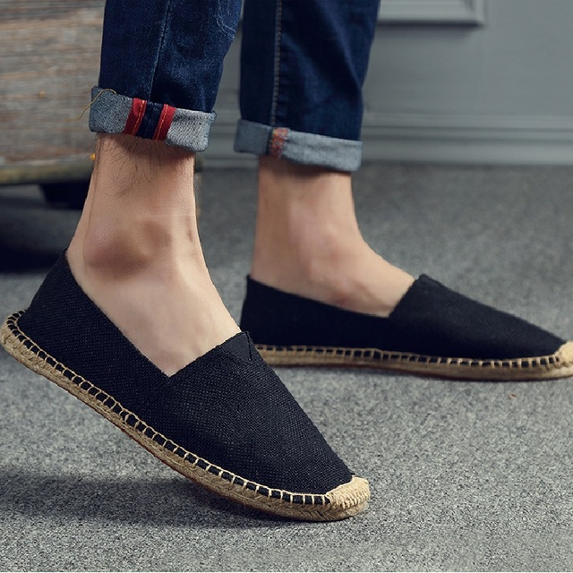 Embroider Women Sewing Flax Shoes Slip on Loafers Casual Shoes Woman Espadrilles Hemp Canvas Flat Shoes Plus Size 35-45