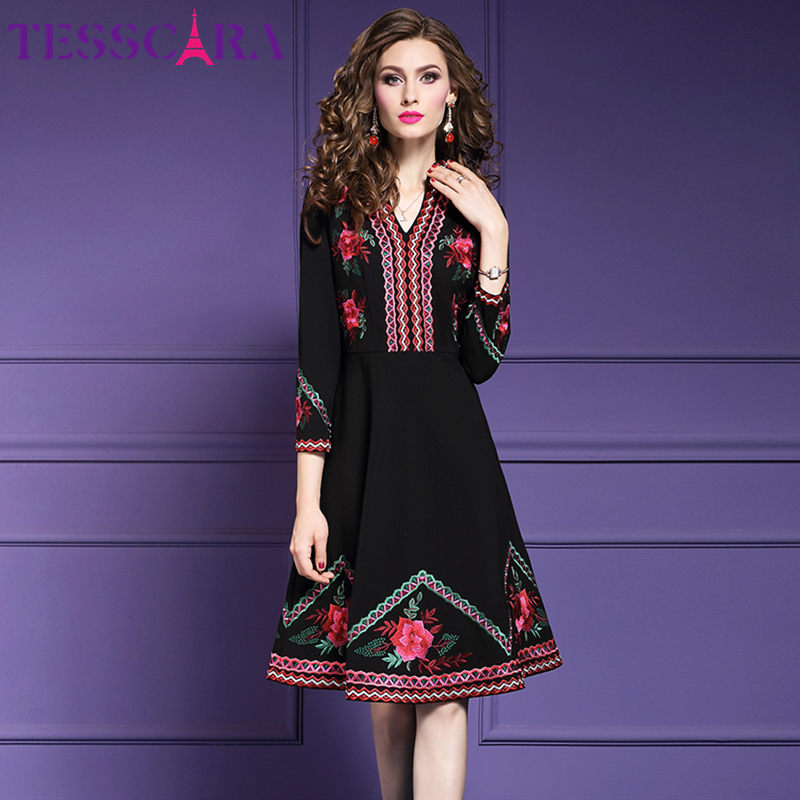 TESSCARA Women Autumn Winter Luxury Embroidery Dress Female Office Lady Robe Femme High Quality Floral Designer