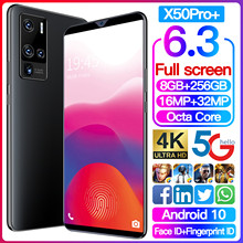 New Global Version X50Pro+ Max 6.3inch Smartphone 2100mAh 8+256G Support Face Unlock Dual SIM Network3G 4G 5G Android Cellphone