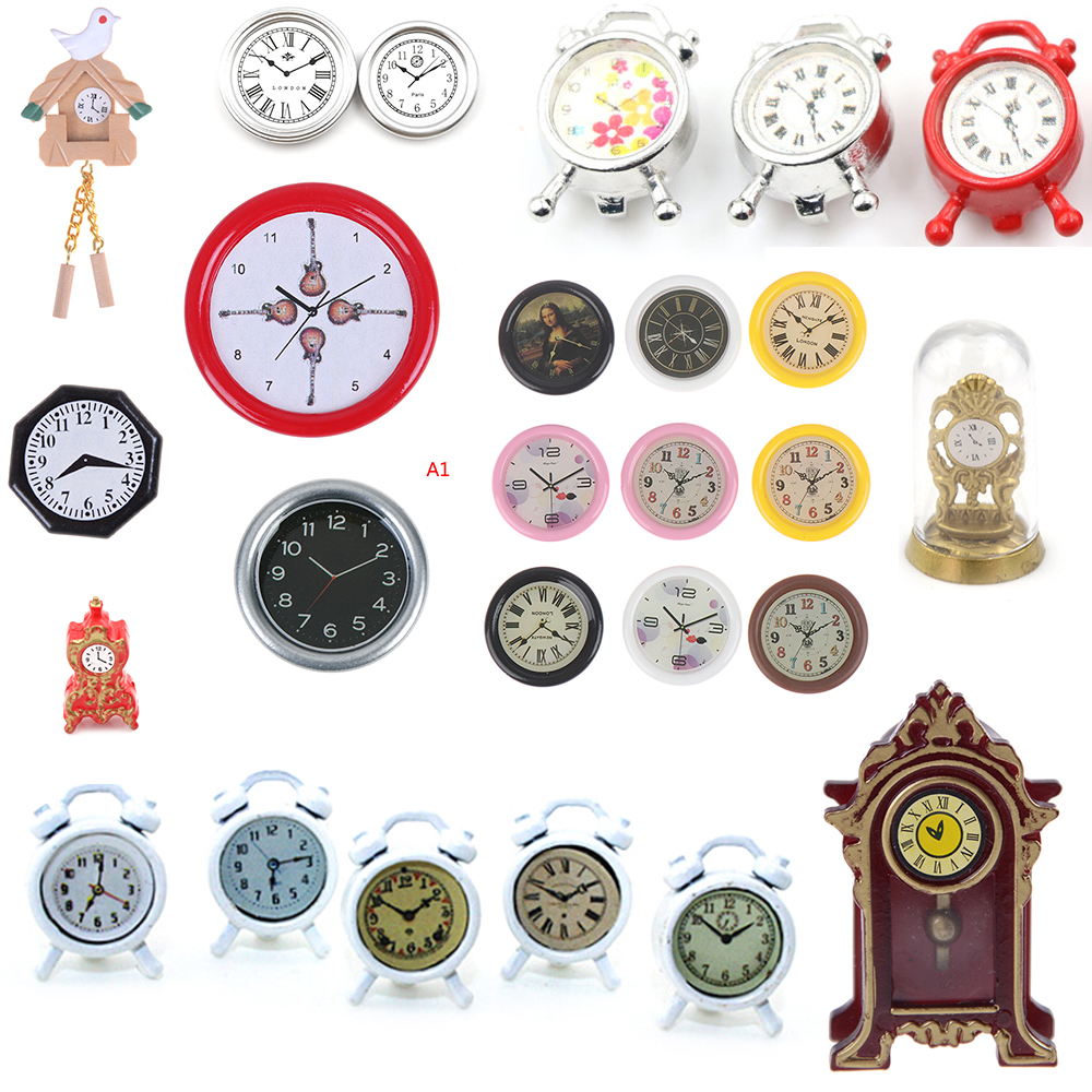 1:12 Scale Wall Alarm Clock Mini Home Decoration Dollhouse Miniature Toys Doll Kitchen Living Room Furniture Accessories