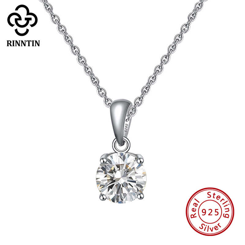 Rinntin Genuine 925 Sterling Silver Necklaces Pendants for Women 12 Birthstones AAA Cubic Zircon Party Fine Jewelry TSN118