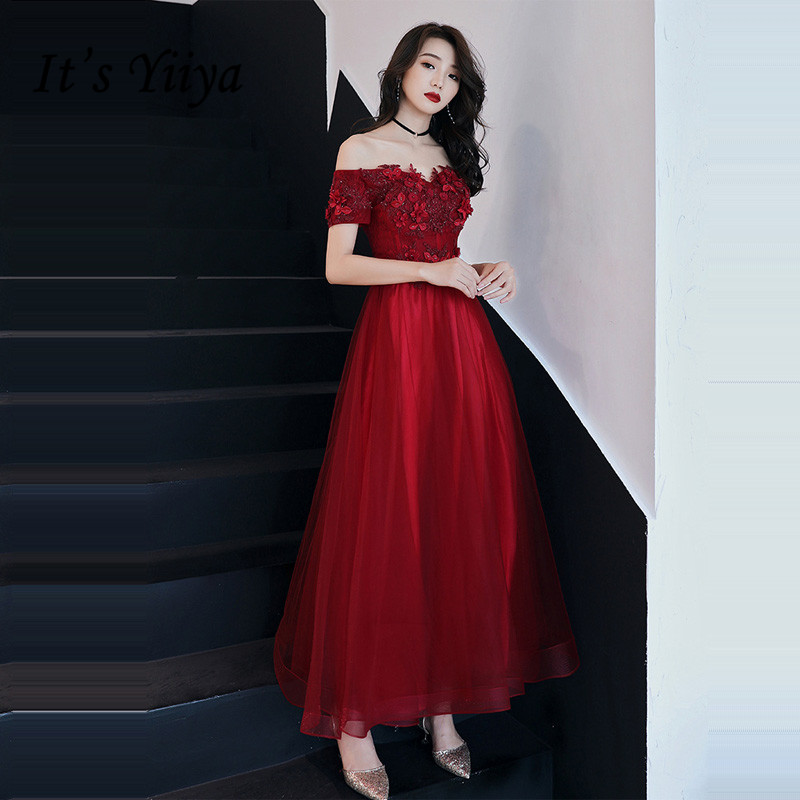 Evening Dresse For Women It's Yiiya R254 Burgundy Off Shoulder Ankle Length Formal Gowns Appliques Boat Neck Long Dress Evening