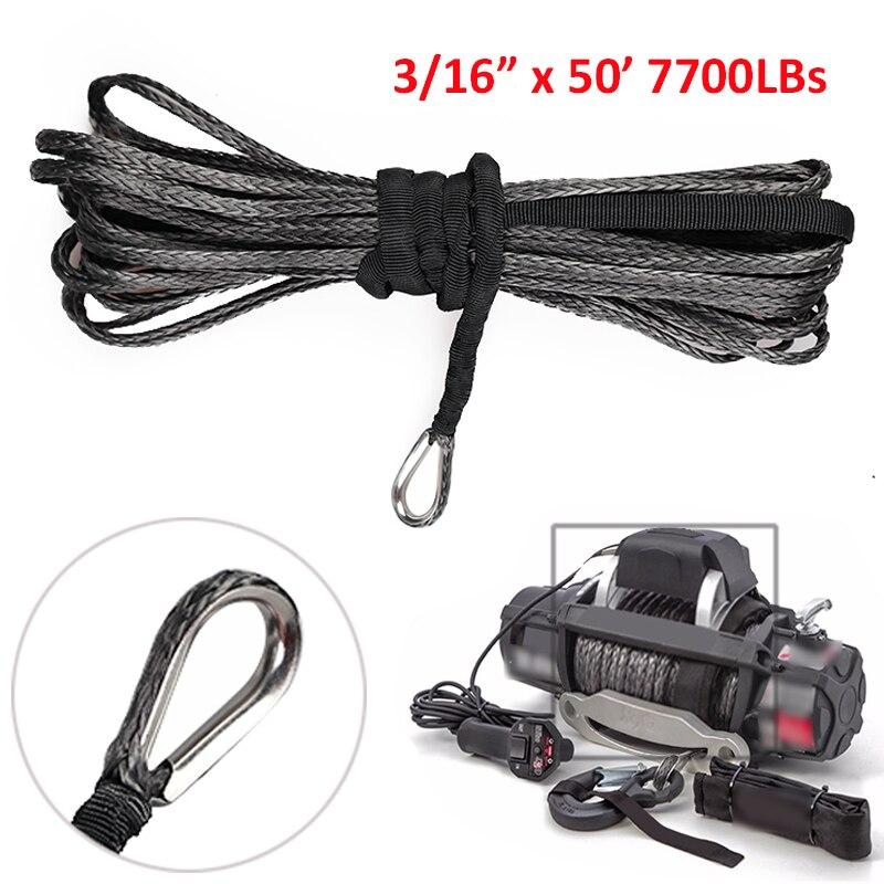 3//16 /'/'x 50/'/' 7700lbs Cuerda De Cable Cabrestante Sintético UTV ATV Torno Clamp