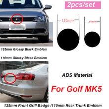 2 pçs para golf mk5 125mm frente grill emblema 110mm tronco traseiro tampa emblema frente capô grelhas emblema 125mm 110mm tronco traseiro emblema