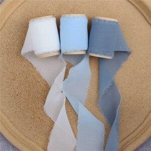 Image 4 - 3 шт. потертая шифоновая шелковая лента с деревянной катушкой 4 см x 5 м свадебные пригласительные букеты ручной работы лента фон для рукоделия флайсы Декор