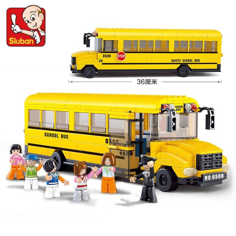 Sluban 0506 382 peças ônibus da cidade-grande ônibus escolar. Legoings brinquedos para crianças blocos de construção educacionais 3d figuras diy aniversário