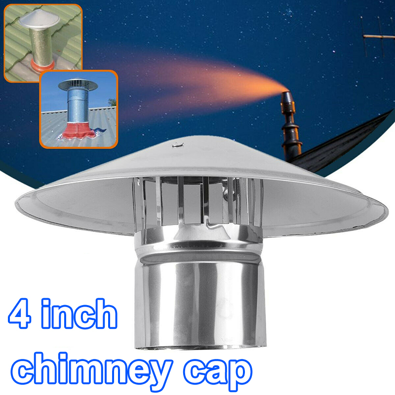 Ventilator Chimney Cap Stove Pipe Fireplaces Rain Hat Iron Weatherproof