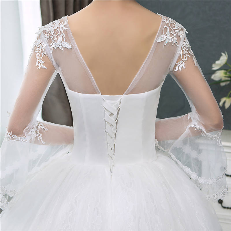 Купить с кэшбэком It's YiiYa New Long Flare Sleeve Wedding Dresses Simple O-neck Back Lace Up Wedding Gown HS283