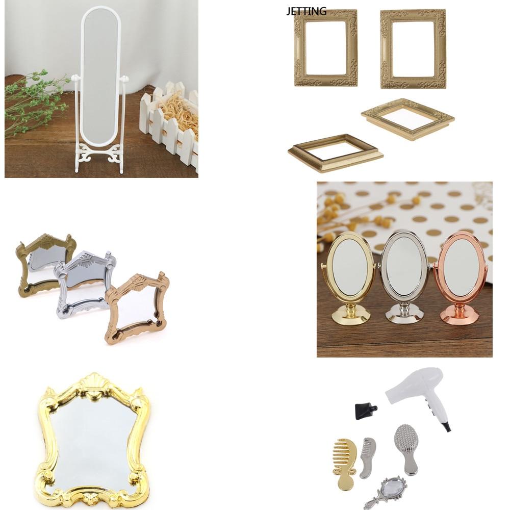 1/5pcs Metal Mirror Practical Bathroom House Miniature Vintage Glod Sliver Rose Gold Vanity Mini Mirror 1/12 Doll Furniture